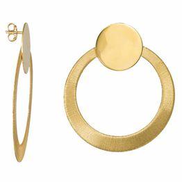 Γυναικεία καρφωτά σκουλαρίκια 925 Gold Circles 034987 034987 Ασήμι