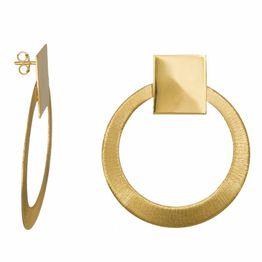 Επίχρυσα καρφωτά σκουλαρίκια 925 με ζαγρέ κύκλους 034988 034988 Ασήμι