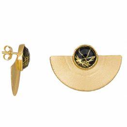 Γυναικεία επίχρυσα σκουλαρίκια 925 βεντάλια με μαύρη πέτρα 034992 034992 Ασήμι