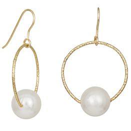 Γυναικεία σκουλαρίκια 925 Shell Pearl σε ανάγλυφο κρίκο 035107 035107 Ασήμι