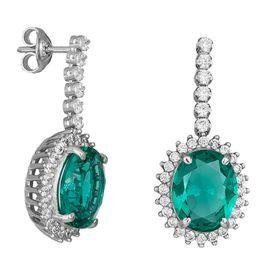Γυναικεία λευκόχρυσα σκουλαρίκια Κ9 με κρεμαστή ροζέτα 035137 035137 Χρυσός 9 Καράτια