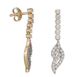 Γυναικεία ολόπετρα σκουλαρίκια Κ14 με φύλλα από ζιργκόν 035140 035140 Χρυσός 14 Καράτια