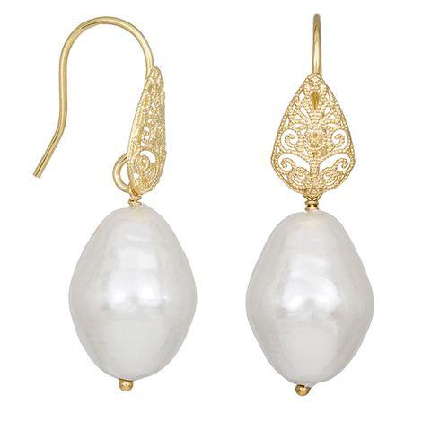 Κρεμαστά επίχρυσα σκουλαρίκια 925 με μαργαριτάρια Shell Pearl 035237 035237 Ασήμι