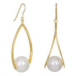 Σκουλαρίκια με μαργαριτάρια Shell Pearls από επιχρυσωμένο ασήμι 925 035239 035239 Ασήμι