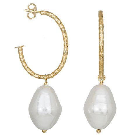 Γυναικεία σκουλαρίκια Shell Pearl από επιχρυσωμένο ασήμι 925 035376 035376 Ασήμι