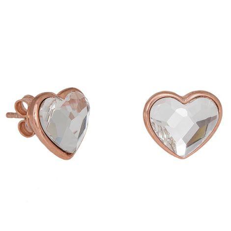 Καρφωτά ασημένια σκουλαρίκια 925 Pink Gold Hearts Swarovski 035730 035730 Ασήμι