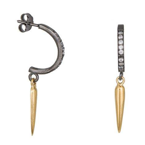 Σκουλαρίκια σε διχρωμία 925 σταγόνες με ζιργκόν 035895 035895 Ασήμι
