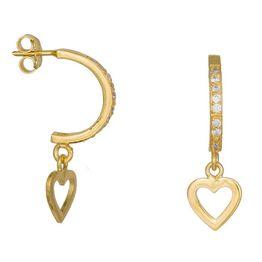 Σκουλαρίκια με κρεμαστές καρδούλες και ζιργκόν 925 035897 035897 Ασήμι