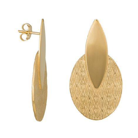 Σκουλαρίκια από επιχρυσωμένο ασήμι 925 με ανάγλυφα μοτίφ 035900 035900 Ασήμι