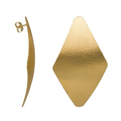 Επίχρυσα σκουλαρίκια 925 Ζαγρέ Ρόμβοι 036192 036192 Ασήμι