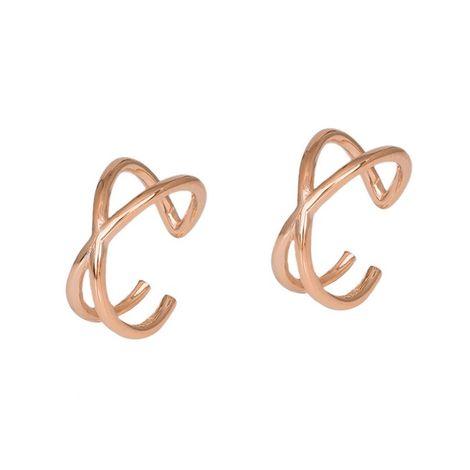Ροζ επίχρυσα σκουλαρίκια 925 σε σχήμα Χ 036280 036280 Ασήμι