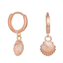 Ροζ επίχρυσα σκουλαρίκια με κρεμαστό κοχύλι 925 036331 036331 Ασήμι