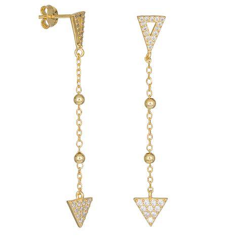 Γυναικεία επίχρυσα σκουλαρίκια τρίγωνα με πέτρες 925 036335 036335 Ασήμι