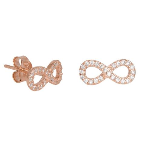 Ροζ επίχρυσα σκουλαρίκια 925 άπειρο 036817 036817 Ασήμι