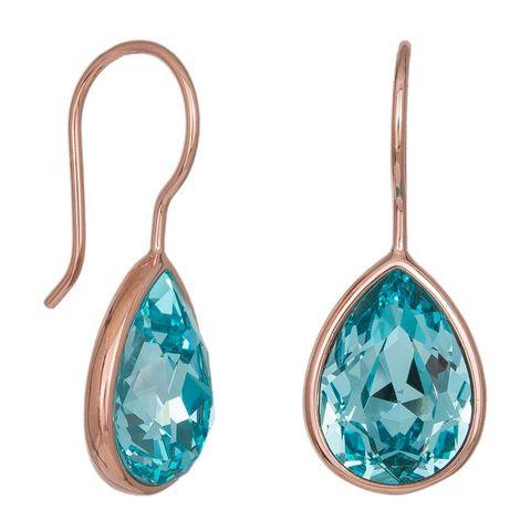 Ροζ επίχρυσα σκουλαρίκια με γαλάζιες πέτρες 925 036820 036820 Ασήμι