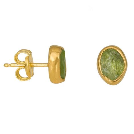 Επίχρυσα καρφωτά σκουλαρίκια με Peridot 925 037100 037100 Ασήμι