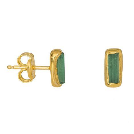 Επίχρυσα σκουλαρίκια 925 με πράσινες πέτρες Τουρμαλίνης 037102 037102 Ασήμι