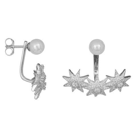 Σκουλαρίκια από ασήμι 925 Stars and Pearls 037157 037157 Ασήμι