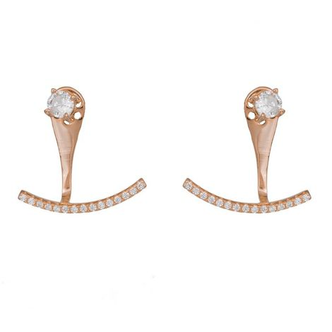 Διπλά ροζ σκουλαρίκια 925 με λευκά ζιργκόν 037168 037168 Ασήμι