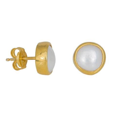 Χειροποίητα επίχρυσα σκουλαρίκια με μαργαριτάρια 925 037527 037527 Ασήμι