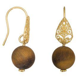 Επίχρυσα σκουλαρίκια 925 με κρεμαστή πέτρα Tiger Eye 038045 038045 Ασήμι
