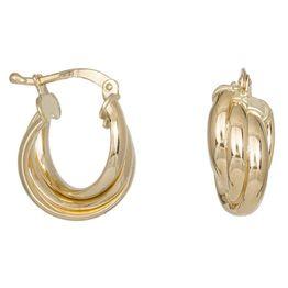 Χρυσά σκουλαρίκια Κ14 τριπλά κρικάκια 038058 038058 Χρυσός 14 Καράτια