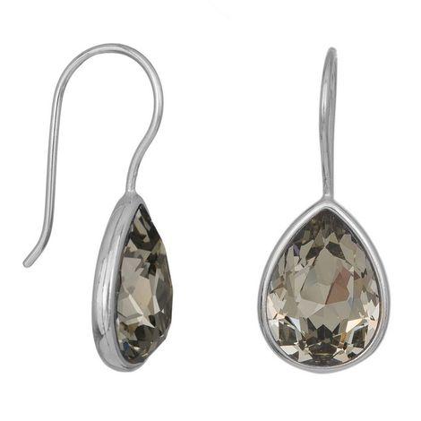 Ασημένια σκουλαρίκια με κρεμαστές γκρι πέτρες 925 038235 038235 Ασήμι