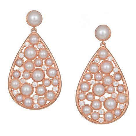 Ροζ επίχρυσα σκουλαρίκια με ζιργκόν και μαργαριτάρια 925 038810 038810 Ασήμι