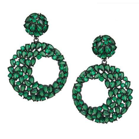Ασημένια ολόπετρα σκουλαρίκια με πράσινες πέτρες 925 038817 038817 Ασήμι