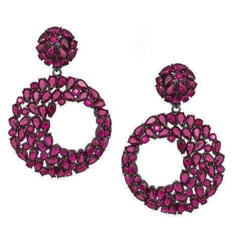 Κρεμαστά γυναικεία σκουλαρίκια 925 Purple Circles 038818 038818 Ασήμι