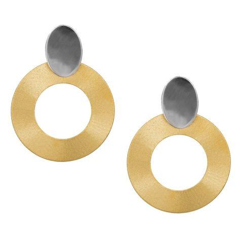 Δίχρωμα σκουλαρίκια με ζαγρέ κύκλους 925 038943 038943 Ασήμι