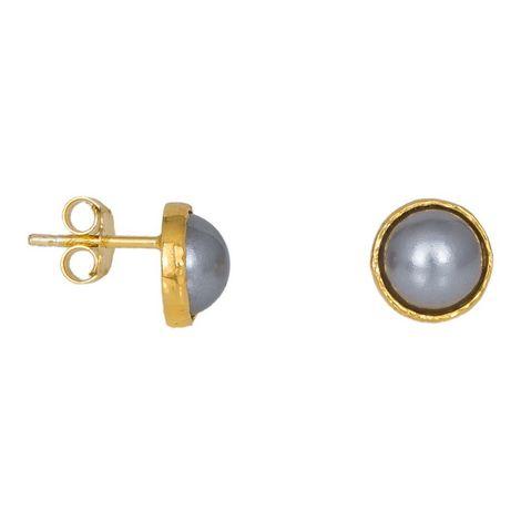 Επίχρυσα καρφωτά σκουλαρίκια με γκρι μαργαριτάρια 925 038947 038947 Ασήμι