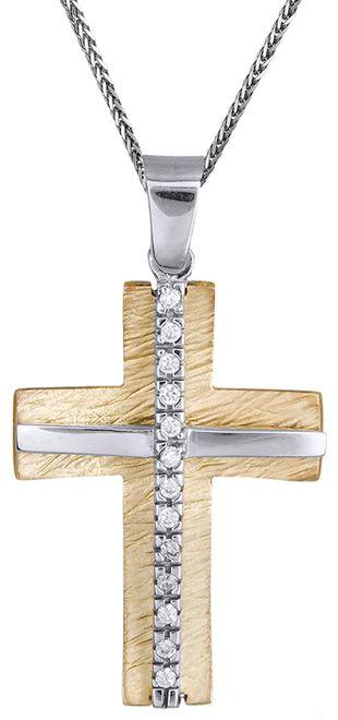Βαπτιστικοί Σταυροί με Αλυσίδα Δίχρωμος σταυρός 14Κ με αλυσίδα C012286 012286C Γυναικείο Χρυσός 14 Καράτια