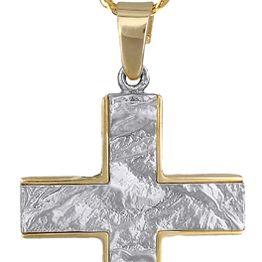 Βαπτιστικοί Σταυροί με Αλυσίδα ΑΝΑΓΛΥΦΟΣ ΔΙΧΡΩΜΟΣ ΑΝΤΡΙΚΟΣ ΣΤΑΥΡΟΣ ΜΕ ΑΛΥΣΙΔΑ 9Κ c014834 014834C Ανδρικό Χρυσός 9 Καράτια