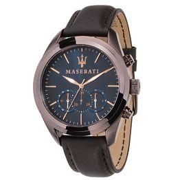 MASERATI ρολόι Traguardo Chronograph Brown Leather Strap R8871612008 R8871612008 Ατσάλι