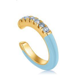 Ania Haie Powder Blue Enamel μονό σκουλαρίκι με πέτρες 925 E028-07G-B E028-07G-B Ασήμι