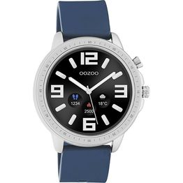 OOZOO Smartwatch Silver Blue Rubber Strap Q00315 Q00315