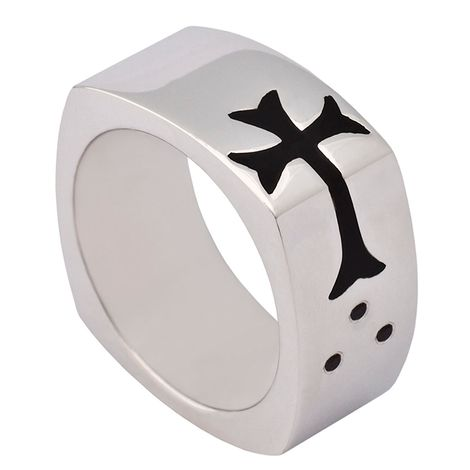Ασημένιο δαχτυλίδι ανδρικό Side Cross R9 R9 Ασήμι