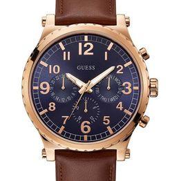 Ρολόι Guess brown leather strap W1215G1 W1215G1 Ατσάλι