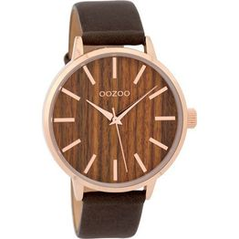 OOZOO Timepieces Wood Brown leather strap C9253 C9253