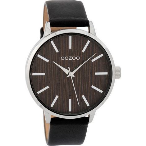 OOZOO Timepieces Wood Black leather strap C9254 C9254