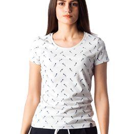 1104 Γυναικειο Tshirt Feathers Allover PACO (ss18) ΓΚΡΙ