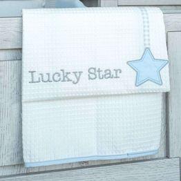 Κουβέρτα Βρεφική Πικέ Κούνιας Des. 309 Lucky Star Blue Baby Oliver Κούνιας 100x140cm