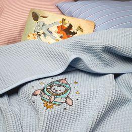 Κουβέρτα Βρεφική Πικέ Αγκαλιάς Riviera Astronaut Siel Melinen Αγκαλιάς 80x110cm