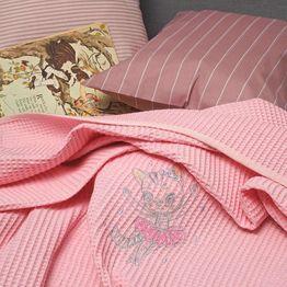 Κουβέρτα Βρεφική Πικέ Αγκαλιάς Riviera Cat Pink Melinen Αγκαλιάς 80x110cm