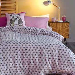 Κουβέρτα Παιδική Flannel Fleece Panda Pink-Black Kentia Μονό 160x220cm