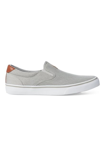 "Polo Ralph Lauren ανδρικά sneakers slip-on μονόχρωμα "" Thompson Washed Twill "" - 816747516003 - Γκρι"