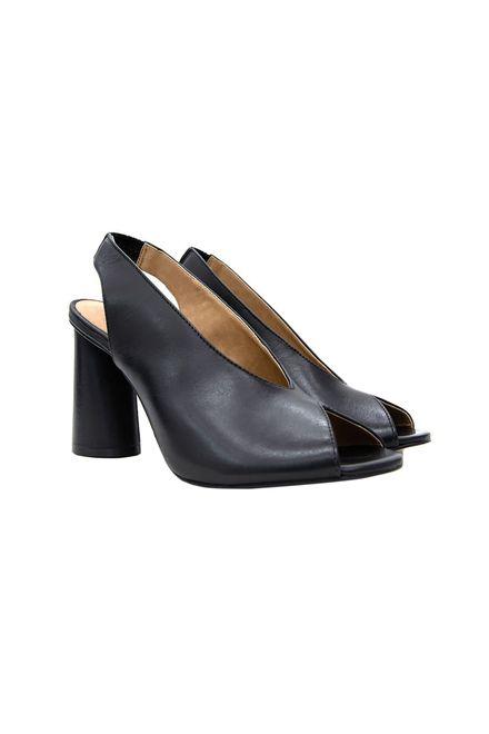 Carrano γυναικεία δερμάτινα peep toe με χοντρό τακούνι - 154206 CAB1 - VEGETA - Μαύρο