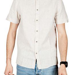 Anerkjendt Kody linen blend κοντομάνικο πουκάμισο εκρού - 9219008-ec