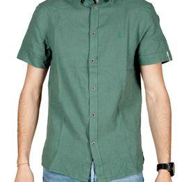 Anerkjendt Kody linen blend κοντομάνικο πουκάμισο πράσινο - 9219008-gn